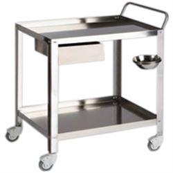 CARRELLO OSPEDALIERO PER MEDICAZIONI in acciaio - 2 ripiani - 1 cassetto e 1 portacatino - 70x50xh.80cm