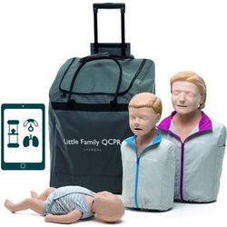 SET MANICHINI BLS RCP LITTLE FAMILY PACK QCPR con trolley da trasporto