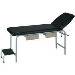 LETTINO VISITA MEDICA REGOLABILE in acciaio verniciato - con predellino e 2 cassetti - 180x55xh.80cm - nero