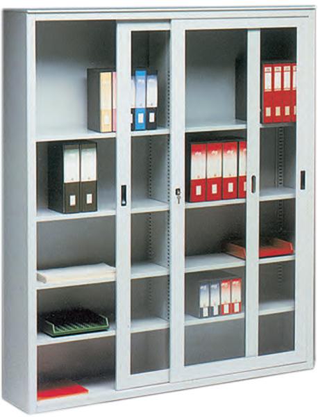 Armadio libreria in metallo 2 porte a vetri scorrevoli - Porte scorrevoli a vetri ...