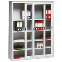 ARMADIO LIBRERIA in metallo - 2 porte a vetri scorrevoli - 120x45xh.200cm - bianco