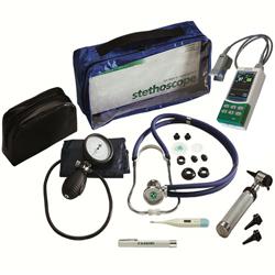 SET DIAGNOSTICO - pulsossimetro + steto + sfigmo + termometro + otoscopio + lampada visita
