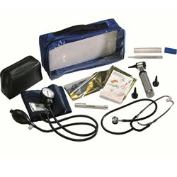 SET DIAGNOSTICO PEDIATRICO - sfigmo steto termometro otoscopio lampada visita e coperta isotermica